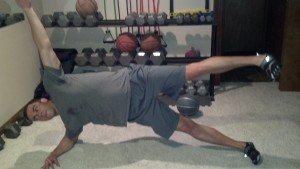 P90X2 review side bridge with leg lift